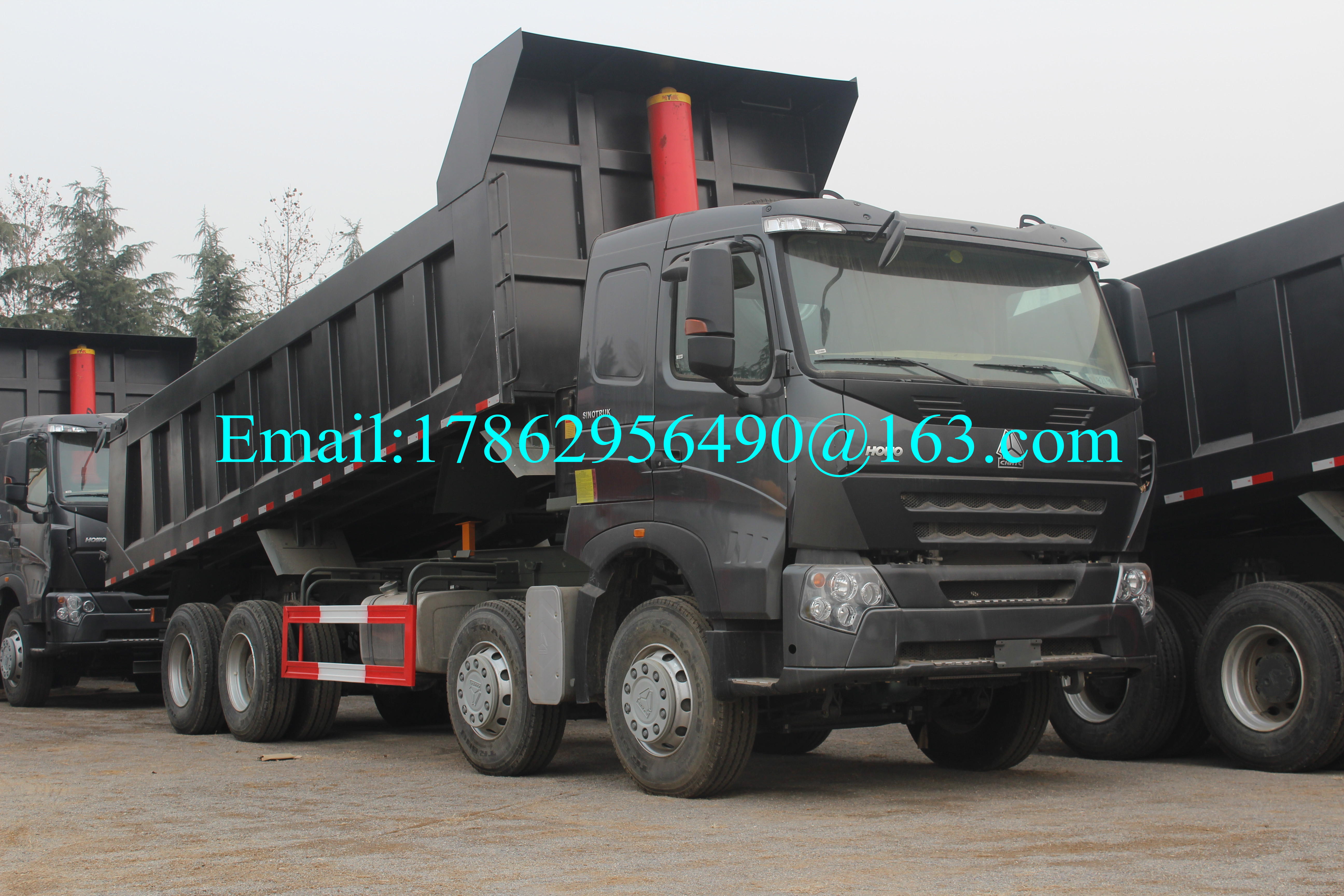Black 371 HP 8x4 Heavy Duty Dump Truck With ZF8118 Steering Gear Box And HW76 Cab